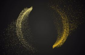 4K金色粒子组成弯月散开视频素材
