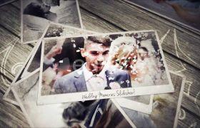 AE模板 浪漫爱情婚礼照片堆叠电子相册模板 AE素材