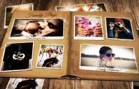 AE模板 温馨复古书籍翻页家庭记录相册模板 AE素材