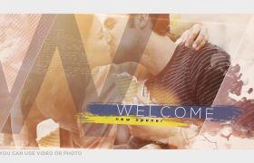 AE模板 浪漫甜蜜油墨渲染婚礼回忆相册模板 AE素材