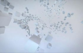 AE模板 立体方块拼接地球模型logo片头模板 AE素材