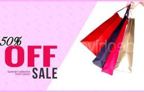 AE模板 时尚粉色商场打折促销推广图文模板 AE素材