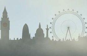 大霧倫敦剪影動畫背景視頻素材