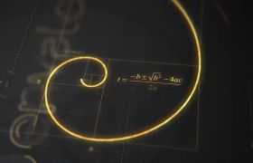 AE模板 黄金分割金色线条图标logo动画模板 AE素材