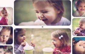 AE模板 动态图片移动翻转儿童电子相册模板 AE素材