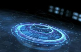AE模板 梦幻蓝色UI高科技虚拟logo标志模板 AE素材