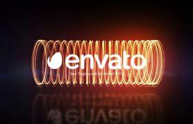 AE模板 炫酷电子粒子能量环环绕logo模板 AE素材