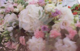 浪漫婚礼鲜花装饰特写实拍视频素材