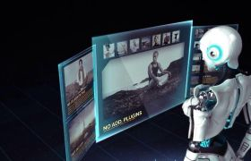 AE模板 未来科幻机器人屏幕图文展示模板 AE素材