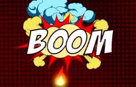 4K漫画涂鸦爆炸水花元素视频素材(带通道)