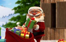 优德w88中文版 趣味圣诞节圣诞老人企鹅卡通动画模板 AE优德w88中文版