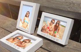 AE模板 浪漫复古夏日海滩立体相框照片模板 AE素材