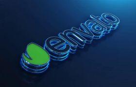 AE模板 立体科技炫酷蓝色光焰标志logo模板 AE素材