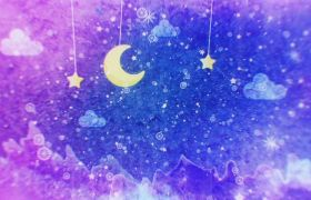 梦幻月亮星空雪花水彩动画视频
