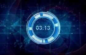 AE模板 炫酷未来数字科技计时logo标志模板 AE素材