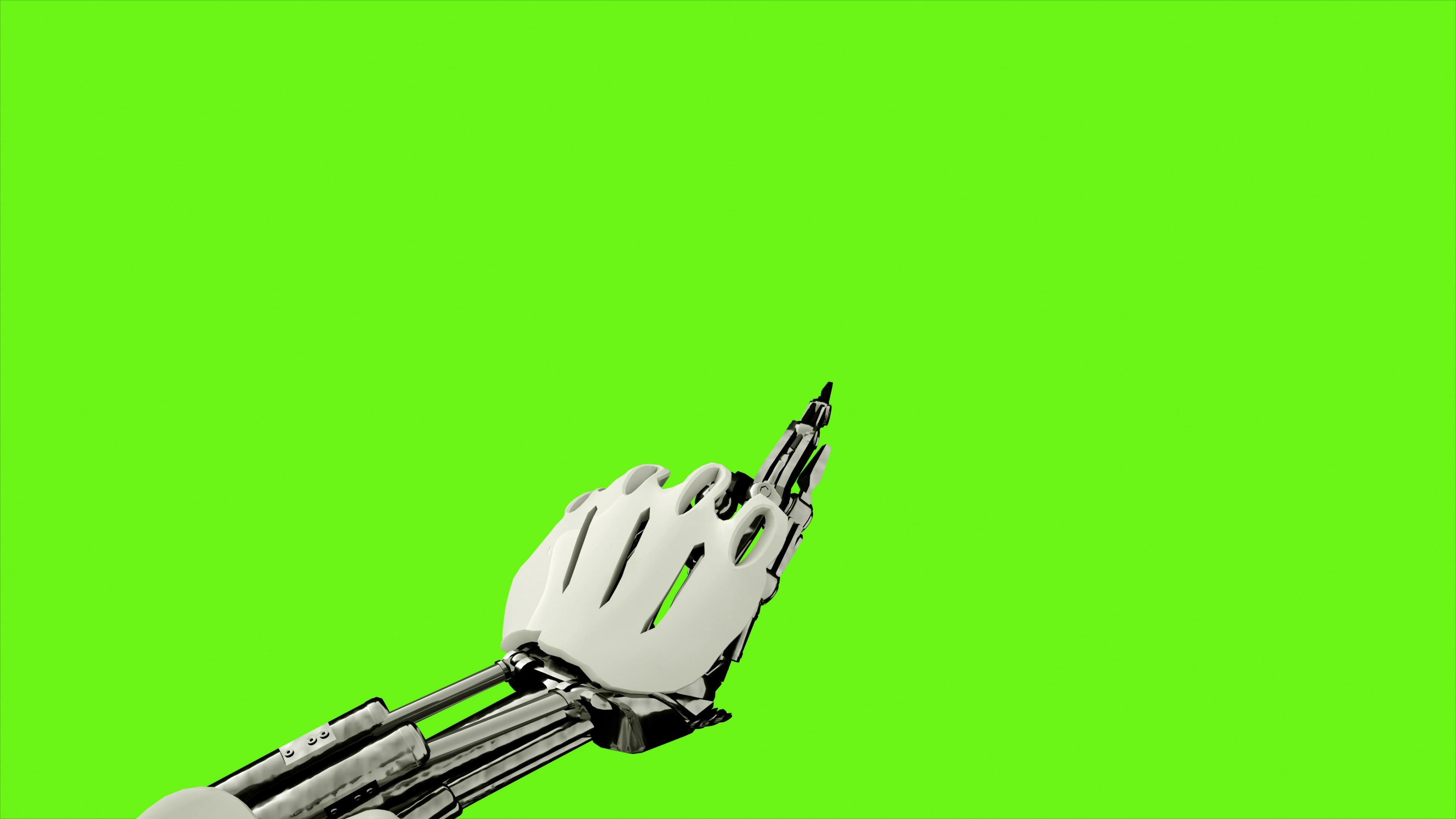 4k科技机器人手臂按键绿幕通道视频素材