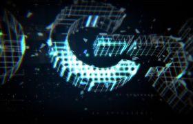 AE模板 科技感高端炫光3D网格演绎logo模板 AE素材