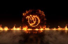 AE模板 4K震撼燃烧火焰爆炸金属logo模板 AE素材