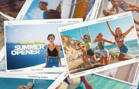 AE模板 清新复古夏日假期拍立得相册堆叠模板 AE素材