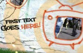 AE模板 卡通墙壁手绘涂鸦电视屏幕视频模板 AE素材