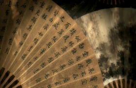 中國風古典扇子扇面水墨書畫視頻