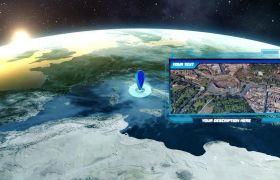 AE模板 三维地球定位聚焦动画揭示logo模板 AE素材