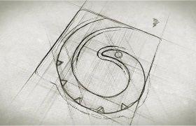 AE模板 手繪鉛筆素描油墨色彩暈染logo模板 AE素材