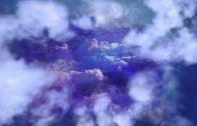 蓝天穿过云层云雾镜头拉近视频