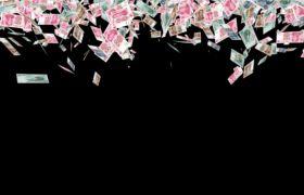 人民币钱币洒落过场通道视频
