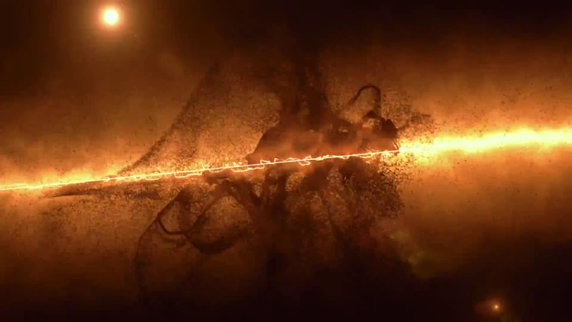 ae模板 神秘火光风沙化粒子汇聚组合logo模板 ae素材