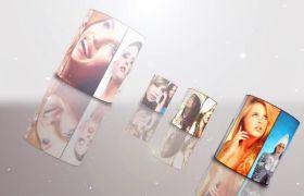 AE模板 优雅金银粒子发光照片画廊logo片头模板 AE素材