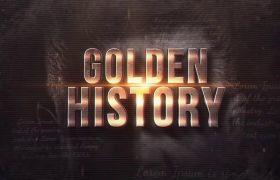 AE模板 复古金色历史金属标题图文模板 AE素材