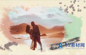 AE模板 浪漫油彩水墨晕染婚礼相册模板 AE素材