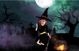 恐怖诡异万圣节节日巫婆舞蹈卡通动画AE模板