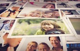 AE模板 温馨光效晕染家庭相册记录模板 AE素材
