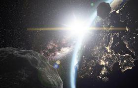 银河系小行星撞击地球视频素材