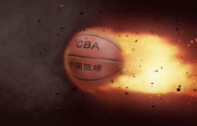 AE模板 黑色粒子火焰篮球特效模板 AE素材