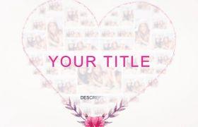 AE模板 优雅照片墙组合拼接心形婚礼相册模板 AE素材