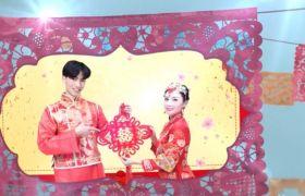 AE模板 中国风窗花剪纸浪漫婚礼相册模板 AE素材