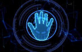 现代蓝色科技手掌触屏启动晚会开场模板 AE素材