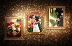 高端大气上档次高贵雅致暗红色系背景图案皇家婚礼开场模板