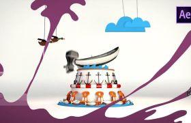 活泼动态液体运动时尚卡通手绘美丽风格液体过度动画模板