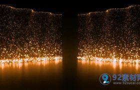 豪华色粒子瀑布浪漫高端婚礼夜景婚礼场景LED视频素材