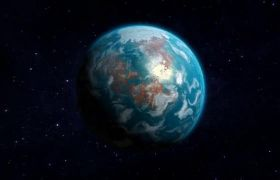 大气唯美三维宇宙行星地球制作工具流动动画模板