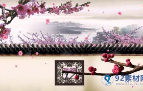 中國風古院墻院子桃花古風山水桃花視頻素材