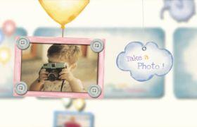 可爱精美婴儿成长历程滑行相册幻灯片展示模版
