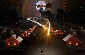 温馨夜幕娴静粒子光环绕汇聚圣诞新年祝福AE素材