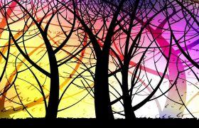 抽象彩色森林树木艺术动画舞台背景视频