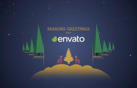 可爱卡通视觉差异感圣诞祝福动画短片AE素材