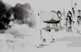 时尚中国风唯美生动水墨画舞台背景视频素材